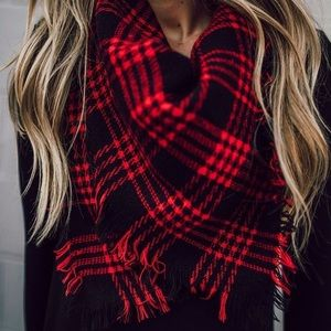 Red & Black Tartan Plaid Blanket Scarf